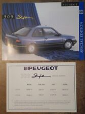 PEUGEOT 309 STYLE Special Edn 1992 UK Mkt Sales Brochure and Price List Flyer