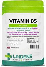 Vitamin B5 Pantothenic Acid 500mg 90 Tablets Lindens Health + Nutrition (4661)