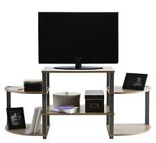 Mesa de television TV multimedia gris, estantes haya de salon comedor 130x57cm