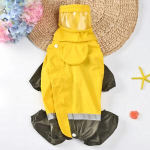 Small Dog Raincoat Waterproof Hooded & Four Leg Rain Jacket Reflective Stripe