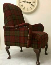 Bedroom Queen Anne Chair Red Lana Tartan Childrens  Small Size