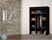 Portable Canvas Wardrobe Fabric Clothes Closet Storage Wardrobes Black