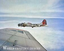 USAAF WW2 B-17 Bomber Mah Ideel In Flight 8x10 Color Nose Art Photo 91st BG WWII