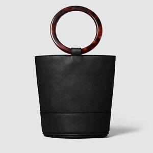 BNWT Seed Heritage Mia Mini Tote Faux Leather Bucket Bag Black Tortoise Shell