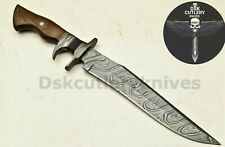 BEAUTIFUL CUSTOM HAND MADE DAMASCUS STEEL HUNTING BOWIE KNIFE HANDLE ROSE WOOD