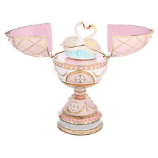 Decorative Faberge Egg / Music Box / Trinket Jewel Box Two Swans 6.7'' 17cm pink