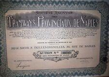 NAPOLI 1928 * AZIONE TRAMWAYS PROVINCIAUX DE NAPLES * SATP * DOCUMENTO AUTENTICO