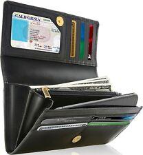 3ff579e37e78 Genuine Leather Wallet Womens Accordion Organizer 12 Credit Card Slots RFID