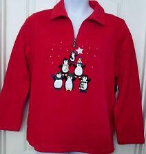 NWT Breckenridge Woman appliqued Penguin fleece Christmas sweater 1/2 zip 2X