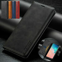 Genuine Leather Flip Case Cover for Samsung Galaxy S10 Plus S10 S9 -Vintage