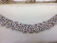 Vintage Pink Aurora Borealis Rhinestone Choker Necklace