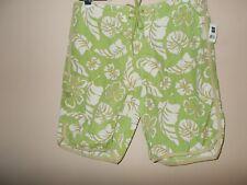 NWT Gap Womens Size L Bermuda Walking Shorts Floral Multi-Color Lime