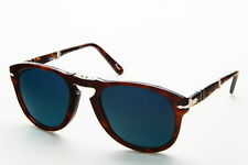 Persol PO 0714 24/S3 Brown Frame Blue POLARIZED Lens Oversize Acetate Sunglasses