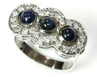 0.8 ctw Natural Blue Sapphire & Diamond 14k Solid White Gold Halo Cocktail Ring