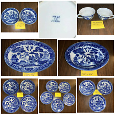 18pc VTG 30's 40's JAPAN BLUE WILLOW CHILD DISHES HTF 2 Flat Soup & Oval Bowl +