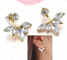 Marquise Clear Crystal Flower Curved gold Plated  Arc Ear Jackets Cuff Earrings