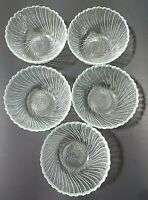 Arcoroc Sea Breeze Swirl Salad Bowls Clear Glass with Scalloped Edge ~ Set of 5