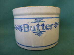 Antique Molded Stoneware Blue Decorated Butter Crock