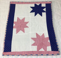 Patchwork Quilt Table Topper or Wall Hanging, Star Design, Red, White, Blue