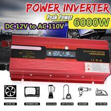6000W Watt Peak Car Led Power Inverter Dc 12V to Ac 110V Dual Usb Converter Zz