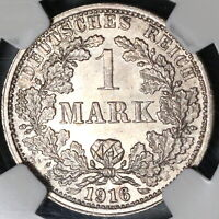 1916-F NGC MS 64 Germany 1 Mark Mint State Silver Coin (20071603C)