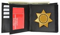 Black Concealed Carry Badge Holder Leather Mens Wallet 7 Point Star Shiled