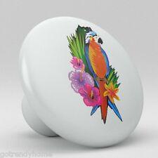 Tropical Parrot Macaw Bird Ceramic Knobs Pulls Kitchen Drawer Cabinet Vanity 354