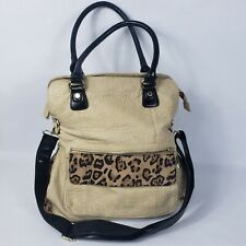 Steve Madden handbag faux leather tan leopard print bucket shoulder bag