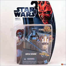Star Wars Clone Wars 2012 Aayla Secura with Flight Gear Card cw14 action figure