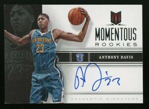 2012-13 Panini Momentum #40 Anthony Davis Hornets RC Rookie AUTO On Card