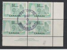 Canada 334 50c Textile Industry, plate block used, Post Office Calgary Alta.