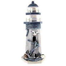10''H Anchor Wooden Lighthouse Nautical Themed Lighthouse Home Decor
