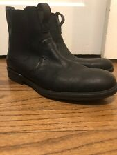 Men's TIMBERLAND 12 black leather pull on chelsea boots slip on water resistant