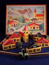 Ancien jouet bois construction village Les Bois JURA CASTOR PARIS en boîte 1950