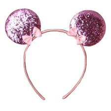 PINK GLITTER MOUSE EARS ALICEBAND HEADBAND - KIDS GIRLS FANCY DRESS UP PARTY