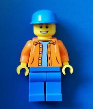Lego City Minifigure Orange hood jacket sweater torso Town operator