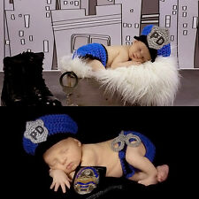 Newborn Baby Boy/Girl Crochet Knit Costume Photo Photography Prop Outfits Police