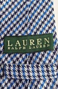 Lauren  by Ralph Lauren all  Silk black & blue houndstooth patter tie handmade