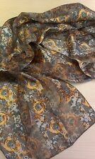 BNWT-Orange/Gold/Green Tone Floral Design Satin/Chiffon Scarf-155cm x 35cm