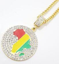 Gold Diamound  Africa Necklace Pendant Chain Rasta Reggae African Afro Map