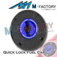 Blue Quick Release Keyless Lock Fuel Cap Fit Suzuki GSF 600 Bandit GSX-R 650 750