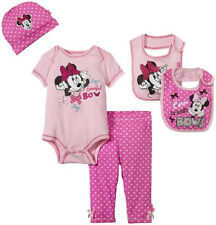 0-6m Disney Baby Girl's 5-piece Layette Minnie Mouse Infant Bodysuit Pants Bib