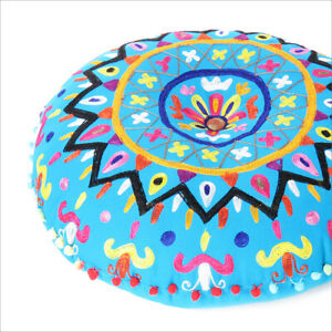 """24"""" Blue Decorative Round Floor Pillow Cushion Cover Seating Meditation Throw In"""