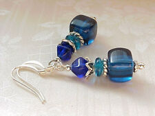 Capri Blue Turquoise Sea Summer Vacation Cruise Beach Glass Czech Earrings AIR
