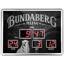 123141 BUNDABERG BUNDY RUM SCOREBOARD DIGITAL LED CLOCK TIME DATE TEMPERATURE