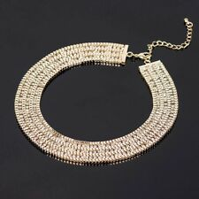 Gold Statement Bib Choker Necklace With Diamontes Crystals