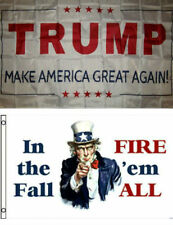 3x5 Donald Trump White & In The Fall Fire 'em All Wholesale Flag Set 3'x5'