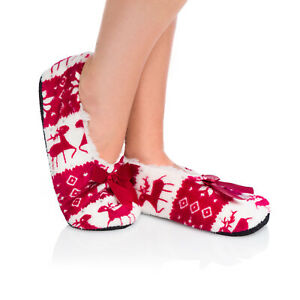 Womens Fur Lined Winter Slippers Home Warm Christmas Anti Slipping Shoes YW04