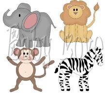 IRON ON TRANSFER 4xCUTE BABY ANIMALS MONKEY LION ZEBRA