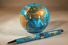Genuine Multi-Gemstone Globe Paper Weight & Pen Executive Desk Set - Turquoise